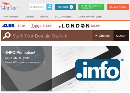 Moniker great domain name registrar 2019