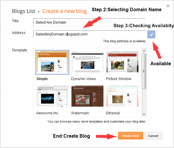 Steps to create Blog
