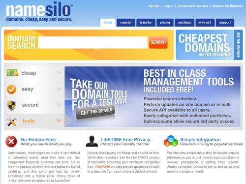 NameSilo for Cheap Domain Names