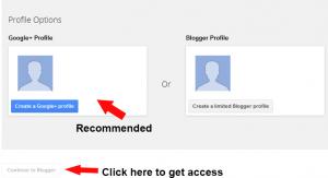 Creating Blogger account