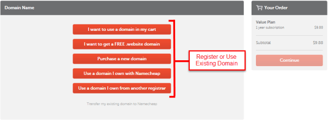 Registering Domain in NameCheap