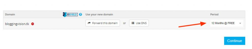 1 year free domain period on freenom