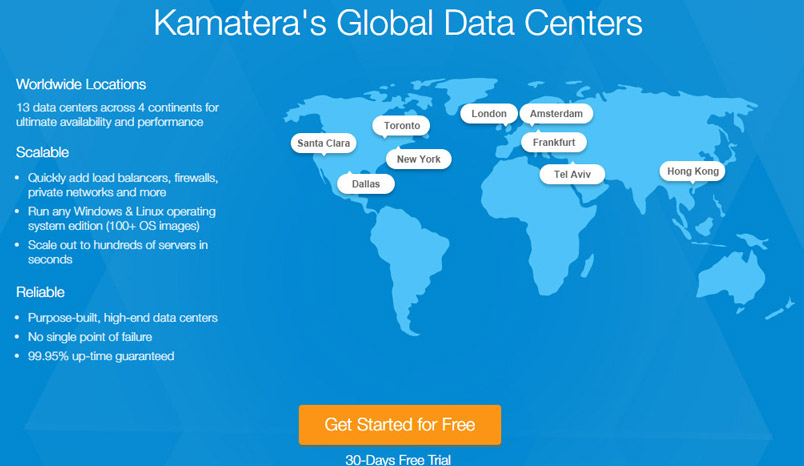kamatera cloud hosting server data base location