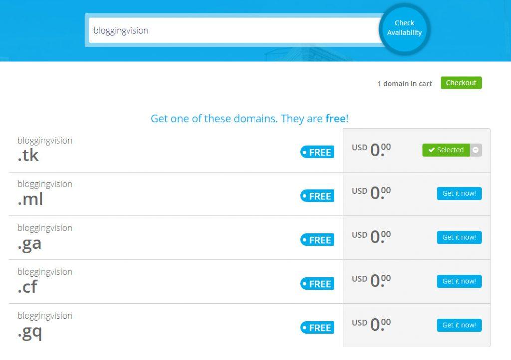 search free domain name on freenom